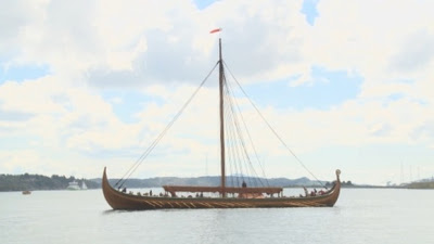 Replica Viking ship takes to the water